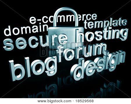 Ilustración 3d del concepto servicios y seguridad Web