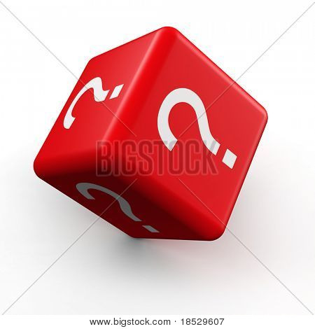 Question mark symbol dice rolling 3d illustration