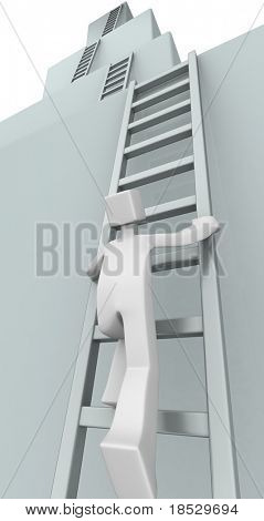 Businessman climbing ladder to the top level of success 3d illustration