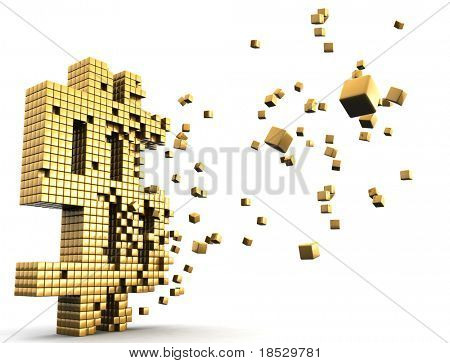Gold dollar currency symbol dissolve financial and economic concept