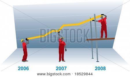 Tabla de crecimiento de negocio de la construcción que representa el éxito del trabajo en equipo (vector)