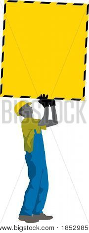 Construction Worker carry big blank Attetion Poster (vector)