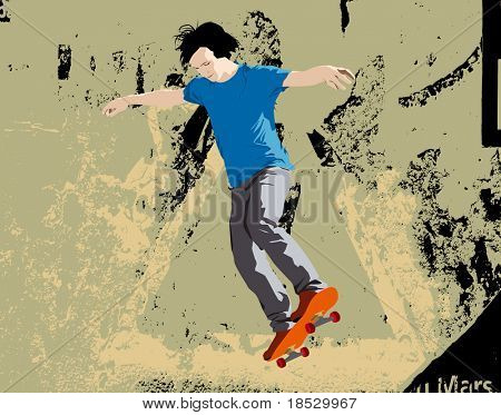 Young skateboarder jumping. Rasterised illustration with grunge background.
