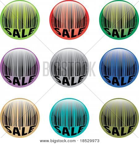 A set of vector glossy buttons with barcode