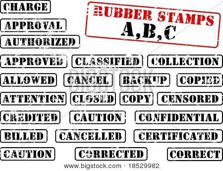 Collection of rubber stamps with words beginning with letter A, B, C. See other rubber stamp collections in my portfolio.