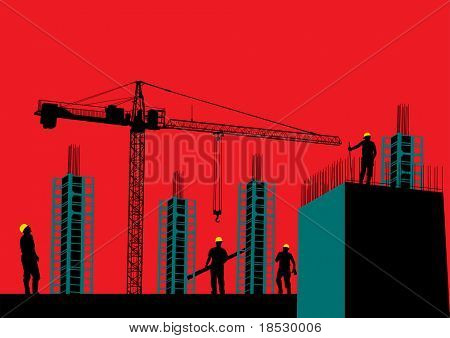 Silhouette of construction site with workers and scaffolding (Rasterized)