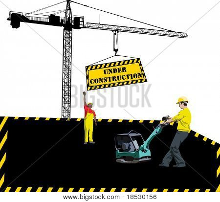 Site under construction with workers and hoisting crane