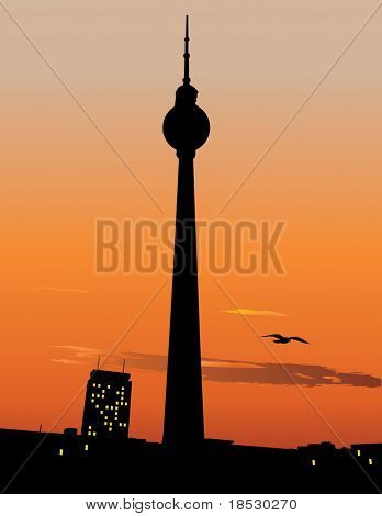 Vector silhouette of Berlin TV tower agaist sunset sky, Germany