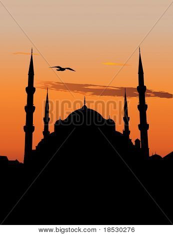 Vector silhouette of the Sultan Ahmed Mosque or Blue Mosque in Istanbul against sunset sky