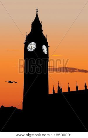 Vector silhouette of Big Ben at sunset, one of the most popular landmark in London