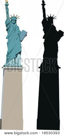 Vector illustration of Statue of Liberty in Paris - smaller sister of famous New York statue