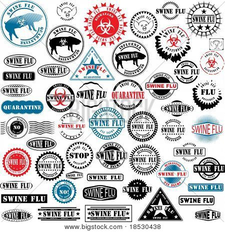 Collection of rubber stamps about swine flu. See other rubber stamp collections in my portfolio.