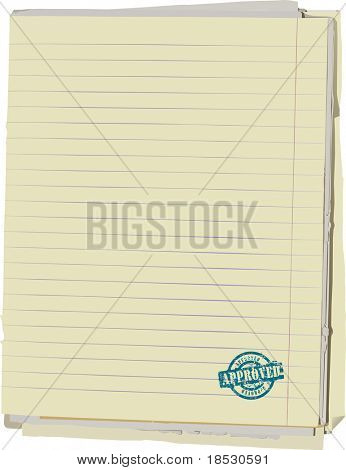 Vector illustration of stack of old lined papers from note book and rubber stamp. Clipping path included to easy remove object shadow or replace background.
