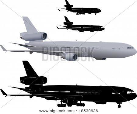 三引擎客机矢量图