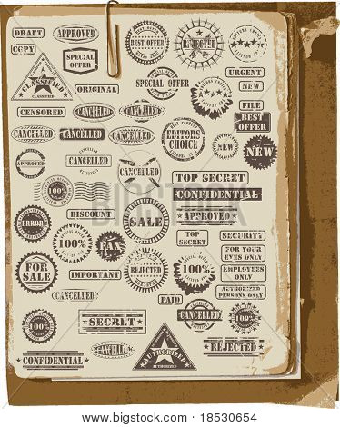 Collection of grunge rubber stamps on old paper