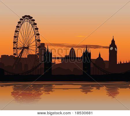 Ilustração do skyline de Londres ao pôr do sol com reflexo no Rio Tamisa