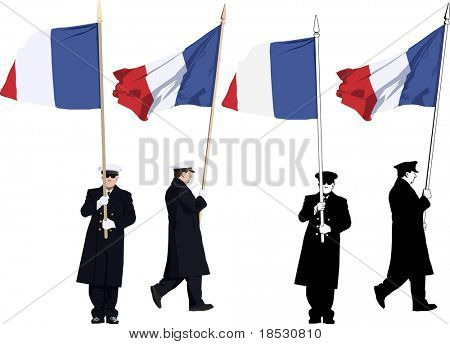 Vector illustration of french guard of honour with flag at Military parade