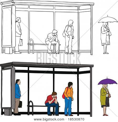 Vector sketch of bus stop with blank billboard and people waiting