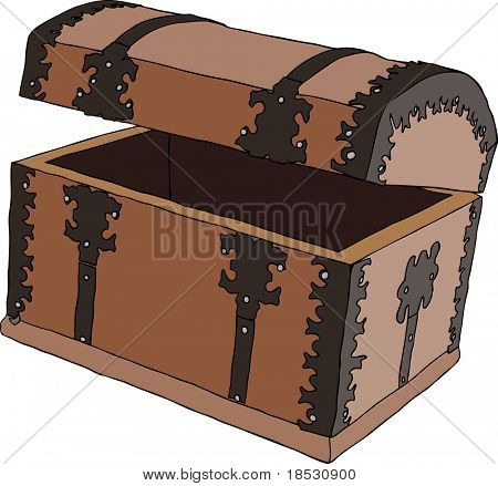 Empty brown wooden treasure chest. Vector illustration