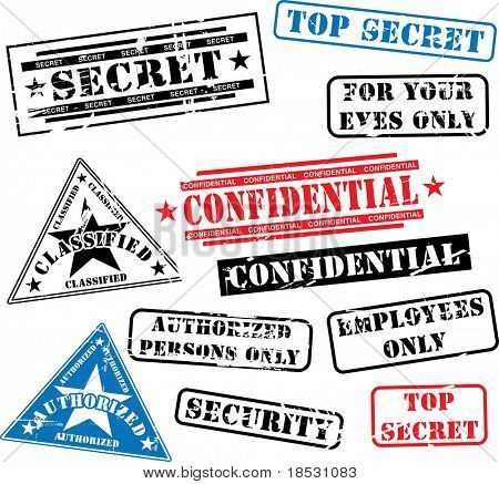 Varios sellos de seguridad (top secret, confidencial etc..)