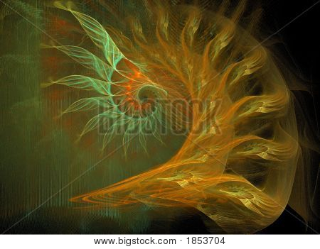 Spiral Abstract In Orange, Yellow And Green