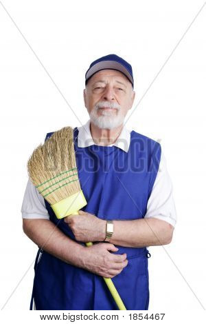 Senior Worker - With Broom