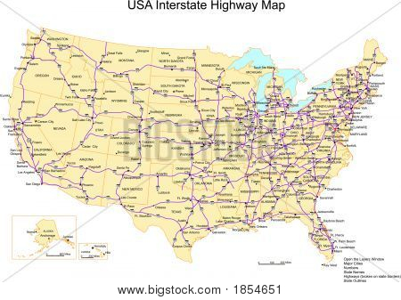 Estados Unidos con nombres, Estados y carreteras interestatales