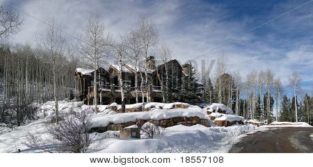 Large House In Winter Forest,