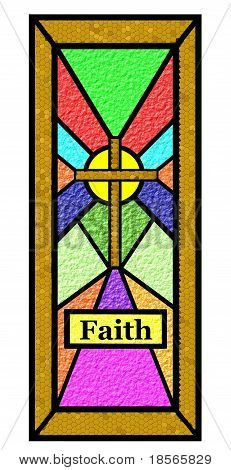 stained glass window of faith