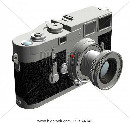 Three dimensional rendering of the left of a rangefinder camera with a 50mm lens.