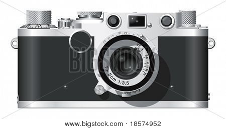 Elevación frontal de una cámara telemétrica alemán clásica con una lente de 50mm.