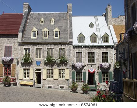 Traditional stone houses in the heart of Old Quebec City, Quebec, Canada.