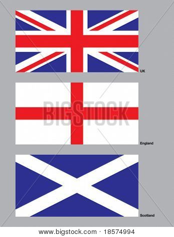 The 3 flags of the United Kingdom drawn in CMYK and placed on individual layers.