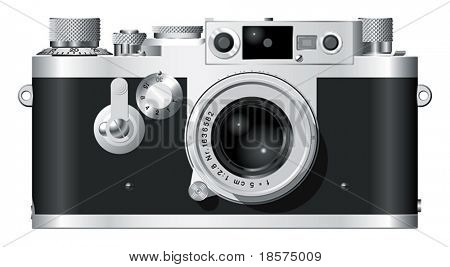 Front elevation of a classic German rangefinder camera with a 50mm lens.