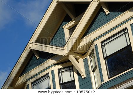 Detail of Craftsman Style house in autumn.