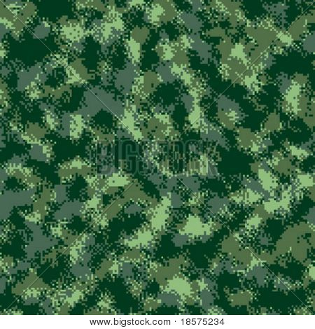 A vector drawing based on the newly designed Cadpat/Marpat pixel-pattern forest camouflage.