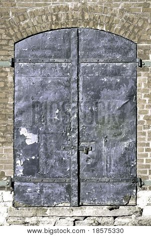 Steel doors on an old warehouse.