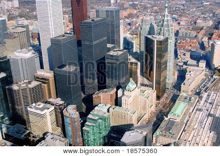 The downtown Toronto core seen from just above Union Station on Front Street.
