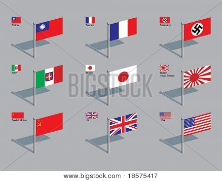 The World War Two flags of China, France, Germany, Italy, Japan (including naval ensign), Soviet Union, UK, and USA (48 stars). Drawn in CMYK and placed on individual layers.