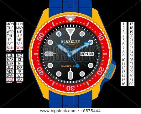 A diver's watch in CMYK on separate layers. Time, day (in English, Spanish, French, and German), and date can all be changed. Strap continues under the watch for easy extension.
