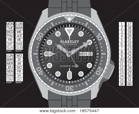 A diver's watch in grayscale on separate layers. Time, day (in English, Spanish, French, and German), and date can all be changed. Strap continues under the watch for easy extension.