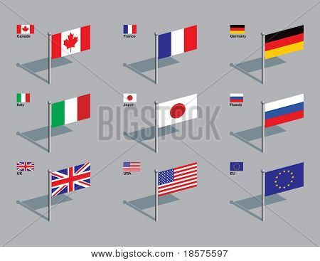 The flags of the members of the G8: Canada, France, Germany, Italy, Japan, Russia, UK, USA, plus the flag of the EU. Drawn in CMYK and placed on individual layers.