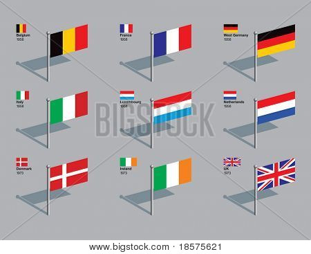Flags of first 9 countries of the EU (Belgium, France, West Germany, Italy, Luxembourg, Netherlands, Denmark, Ireland, UK), with the year they joined. Drawn in CMYK and placed on individual layers.