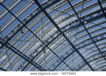 A detail of the glass roof at the new St Pancras International railway station in London.