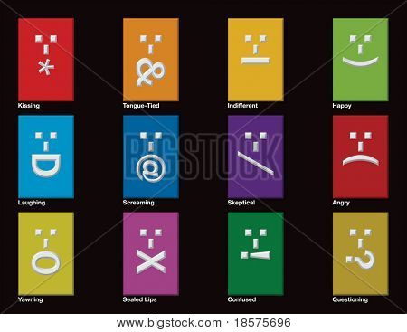 Twelve emoticons drawn in CMYK and placed on individual layers.