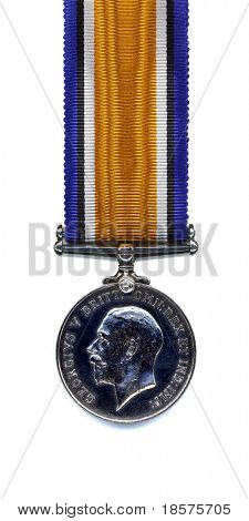 The reverse of a British 1914 - 18 War Medal suspended from a pure silk ribbon. Members of the British and Commonwealth Armed Forces were awarded the medal in silver.