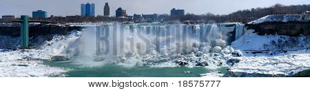 The American Niagara Falls, and on the extreme right the smaller Bridal Veil Falls, in mid-winter.