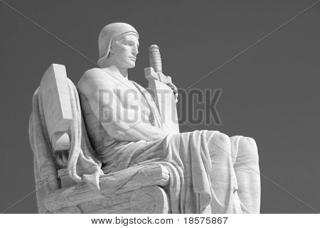 The statue called The Authority of Law at the entrance to the US Supreme Court in Washington, DC.