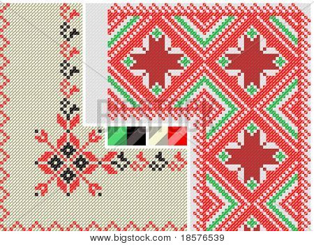 color paint ethnic Ukraine. Imitation of the cross stitch