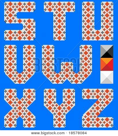 Color latin alphabet like cross pattern. Ukrainian design. Blue background. Part 3 of 3